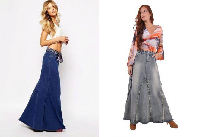 длинная джинсовая юбка в пол