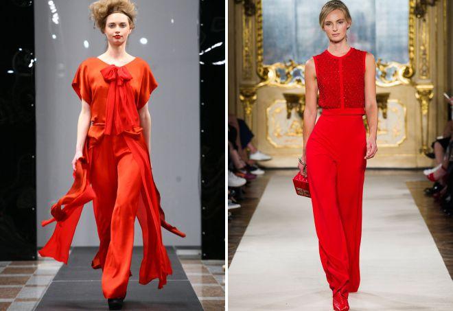 красный вечерний костюм