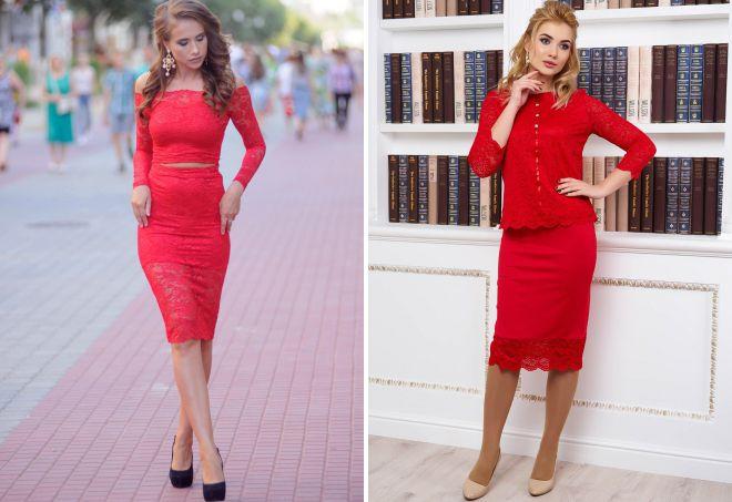 женские костюмы красного цвета