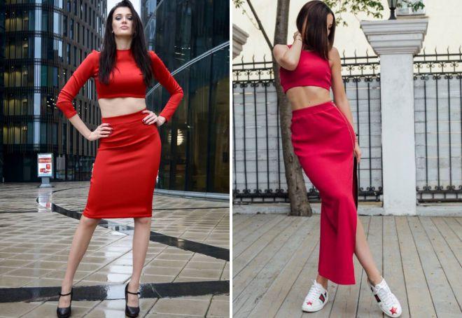 красный костюм топ и юбка