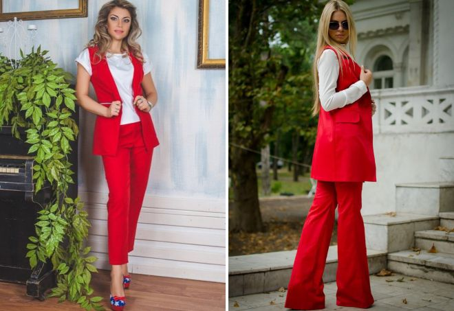 красный костюм с жилетом