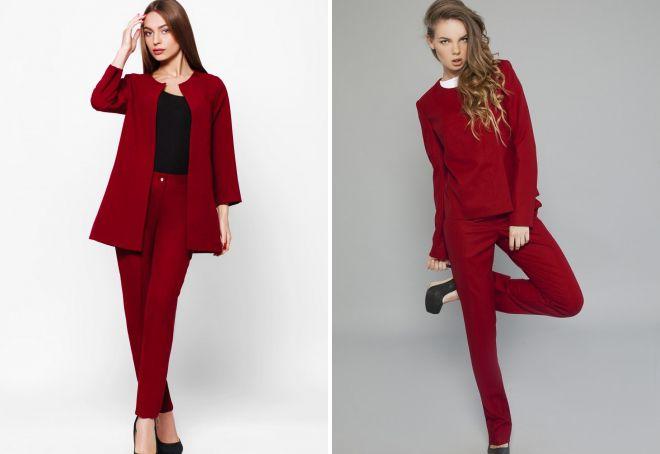 женский красный костюм