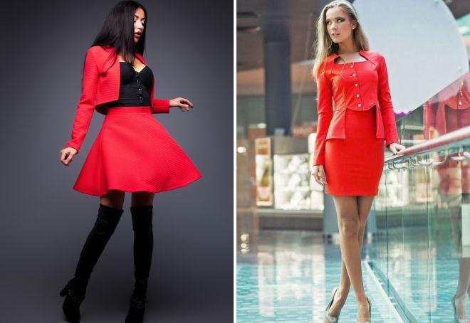 женский красный костюм с юбкой