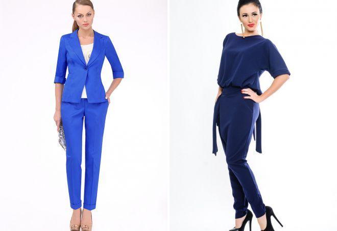 Модный женский синий костюм – классический, деловой, спортивный, брючный, с юбкой, жилетом, зимний, для полных