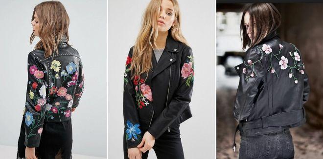 Модные кожаные куртки весна 2019 вышивка