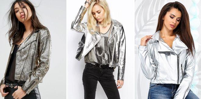 Модные кожаные куртки весна 2019 металлик