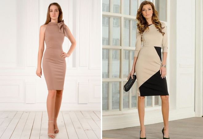 бежевые женские платья