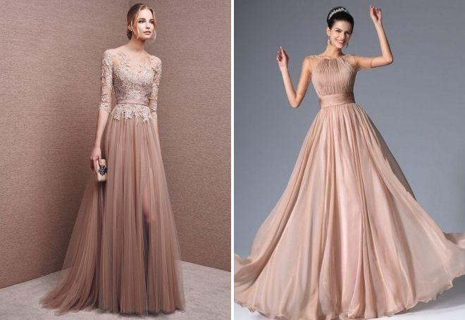 вечернее бежевое платье