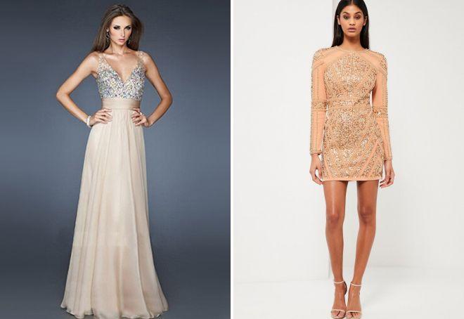 вечерние платья бежевого цвета