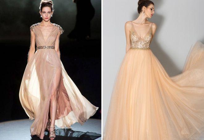 красивое бежевое платье