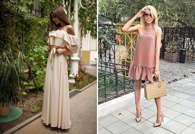 бежевое летнее платье
