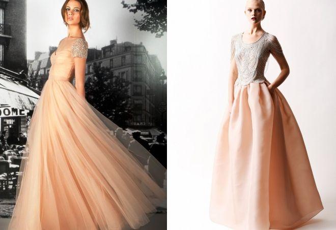 бежевое пышное платье