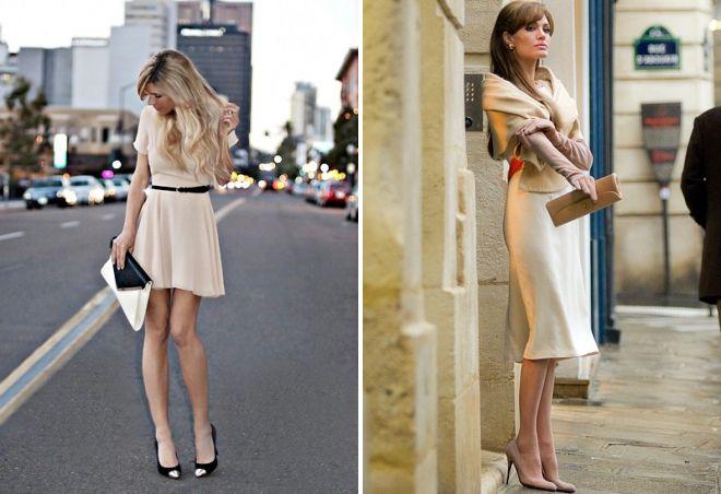 образ с бежевым платьем
