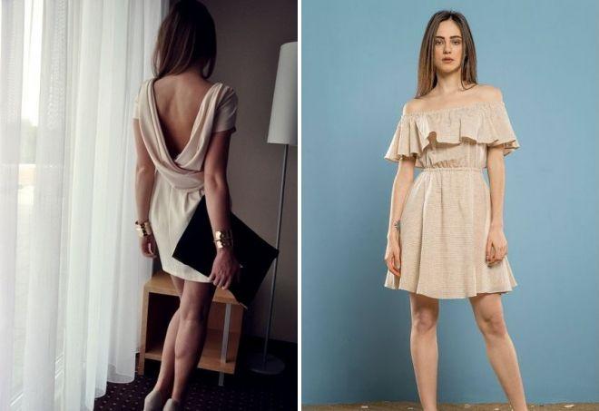 однотонное бежевое платье