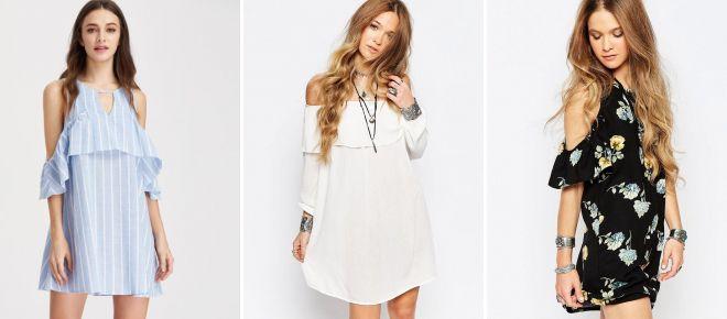 платье с открытыми плечами и рукавами