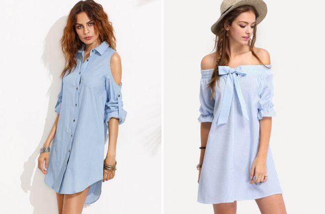 платье рубашка с открытыми плечами