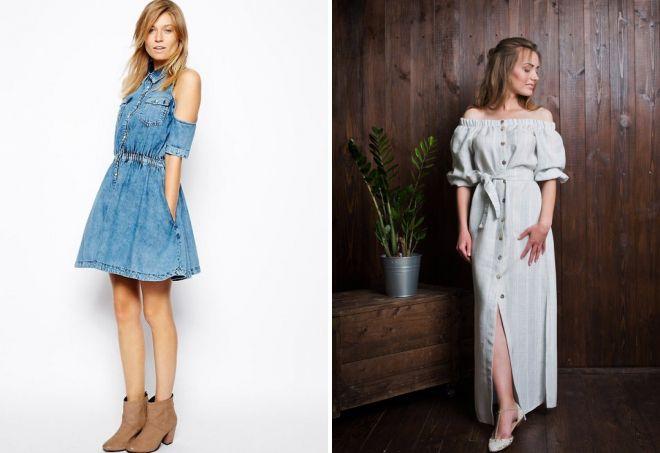 джинсовое платье с открытыми плечами