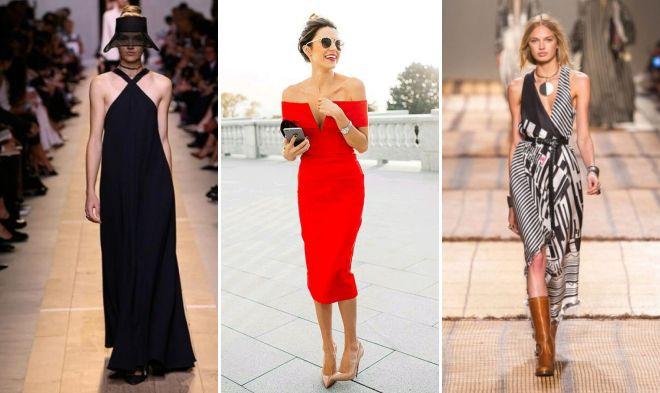 модные платья с открытыми плечами