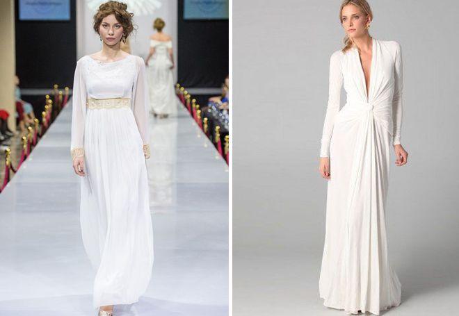 Греческое платье с длинным рукавом