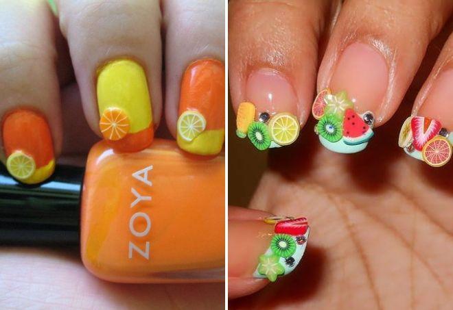 дизайн ногтей с фимо фруктами