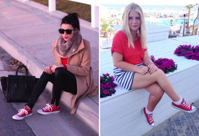 красные кеды для девушек