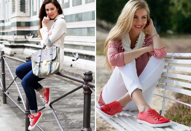 джинсы и красные кеды