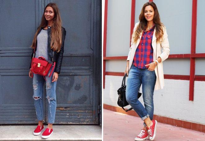 образ с красными кедами и джинсами