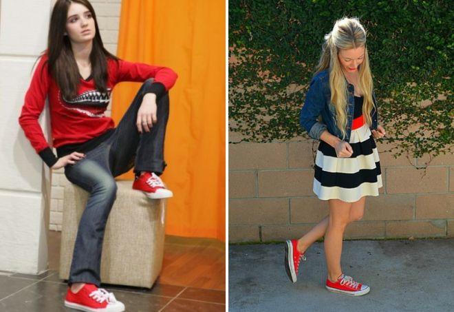 модные красные кеды