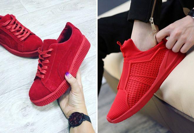 красные кеды с красной подошвой