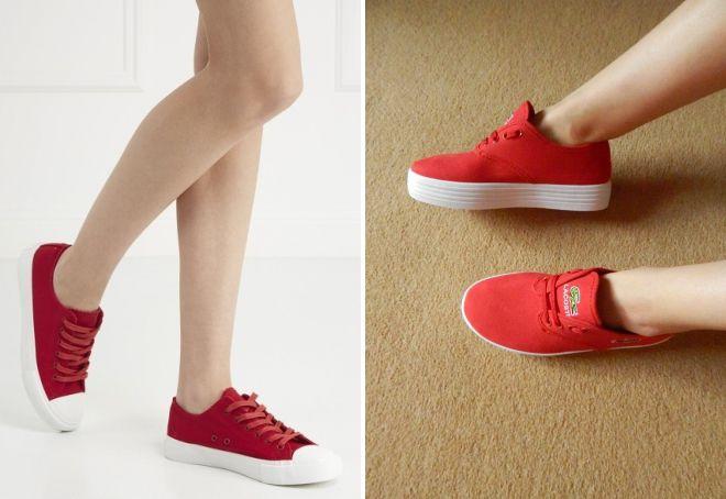 брендовые красные кеды
