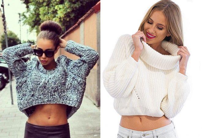 короткий широкий свитер
