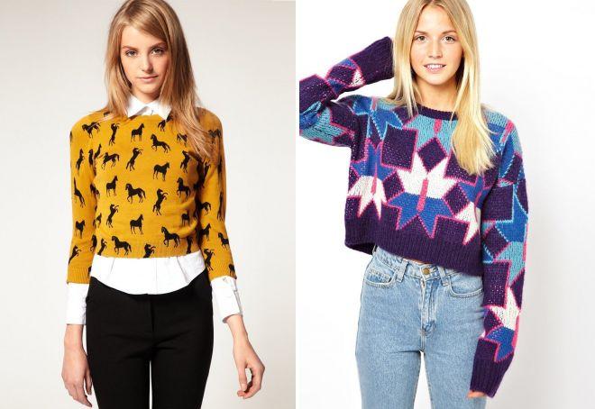 женский короткий свитер