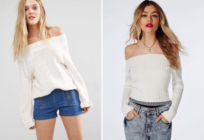 короткий белый свитер
