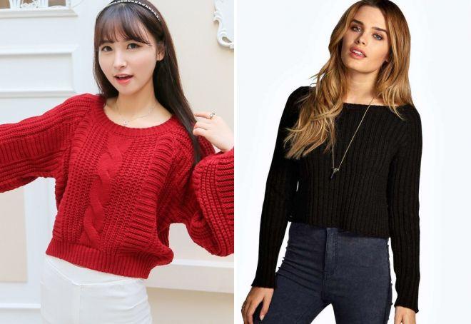 модные короткие свитера