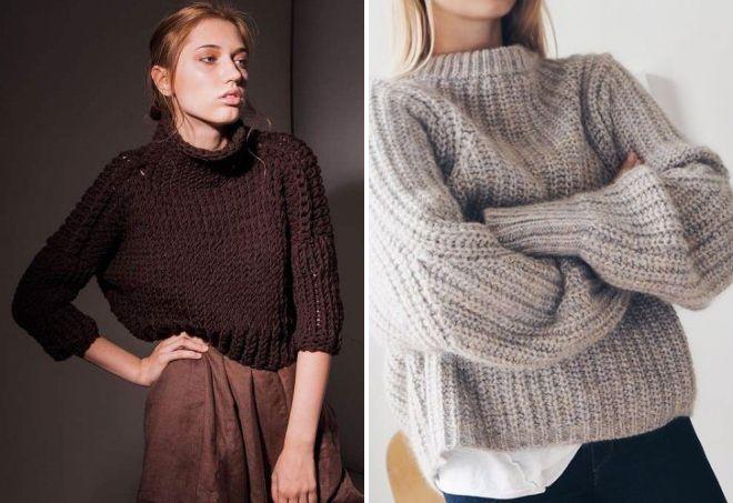 короткий свитер крупной вязки