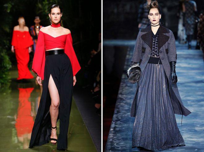 длинные юбки 2018 года образ