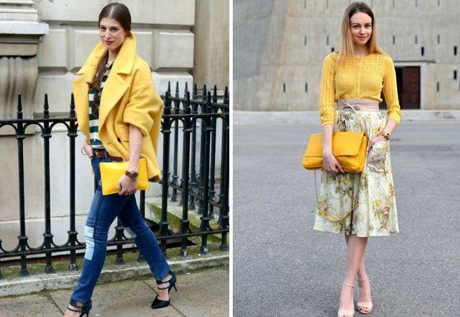 желтая сумка спокойных оттенков
