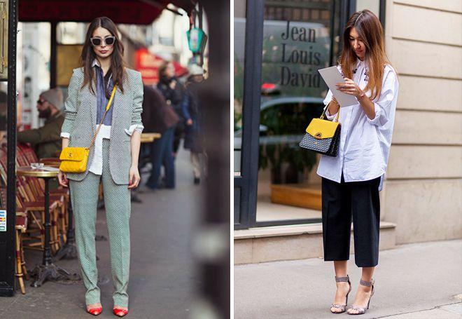 желтая сумка с деловым стилем в одежде