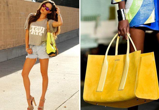 замшевые желтые сумки