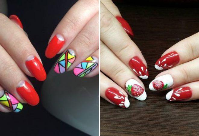 красный дизайн ногтей 2018 с рисунком