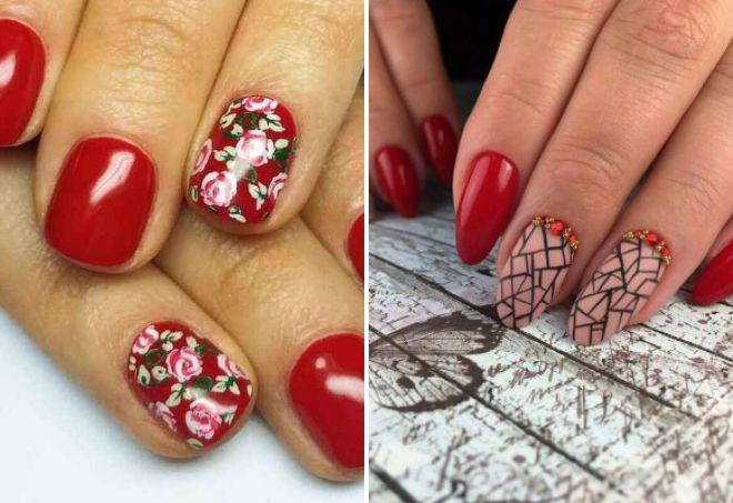стильные красные ногти дизайн 2018