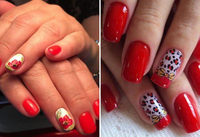 красивый красный дизайн ногтей 2018