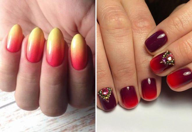 красный дизайн ногтей 2018 омбре