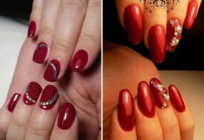 красный дизайн ногтей 2018 со стразами