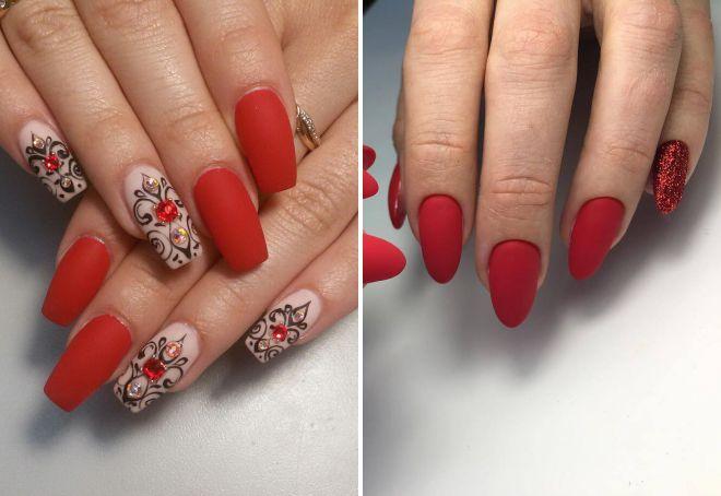 матовый красный дизайн ногтей 2018