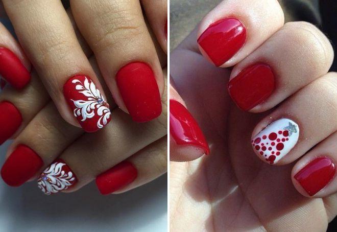 красный дизайн ногтей 2018 модные тенденции