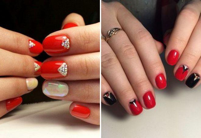 красный лунный дизайн ногтей 2018