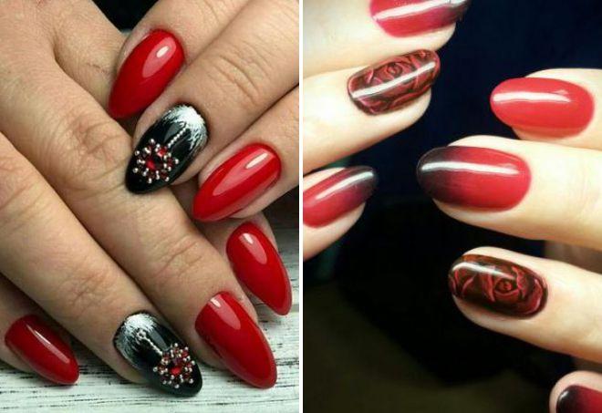 красный дизайн ногтей 2018 с черным
