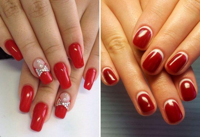 оригинальный красный дизайн ногтей 2018