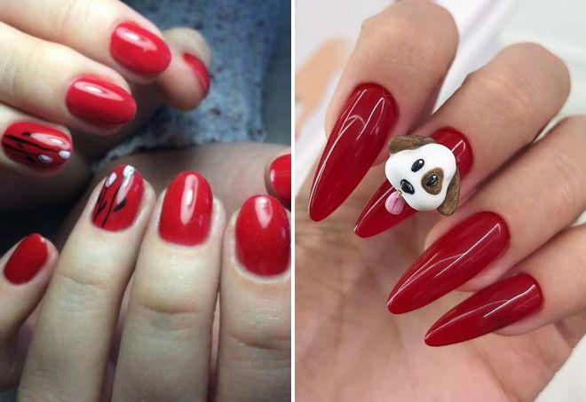 красный дизайн ногтей 2018 модная форма